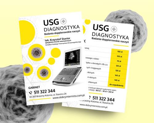 ulotka reklamowa gabinet usg projekt min - Projekt ulotki reklamowej - gabinet USG Diagnostyka