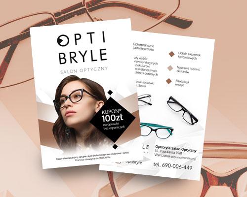 projekt ulotki reklamowej dla salonu optycznego opti min - Projekt ulotki dla salonu optycznego - Opti