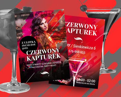 projekt ulotki reklamowej dla klubu muzycznego czerwony kapturek min - Projekt ulotki dla klubu - Czerwony Kapturek