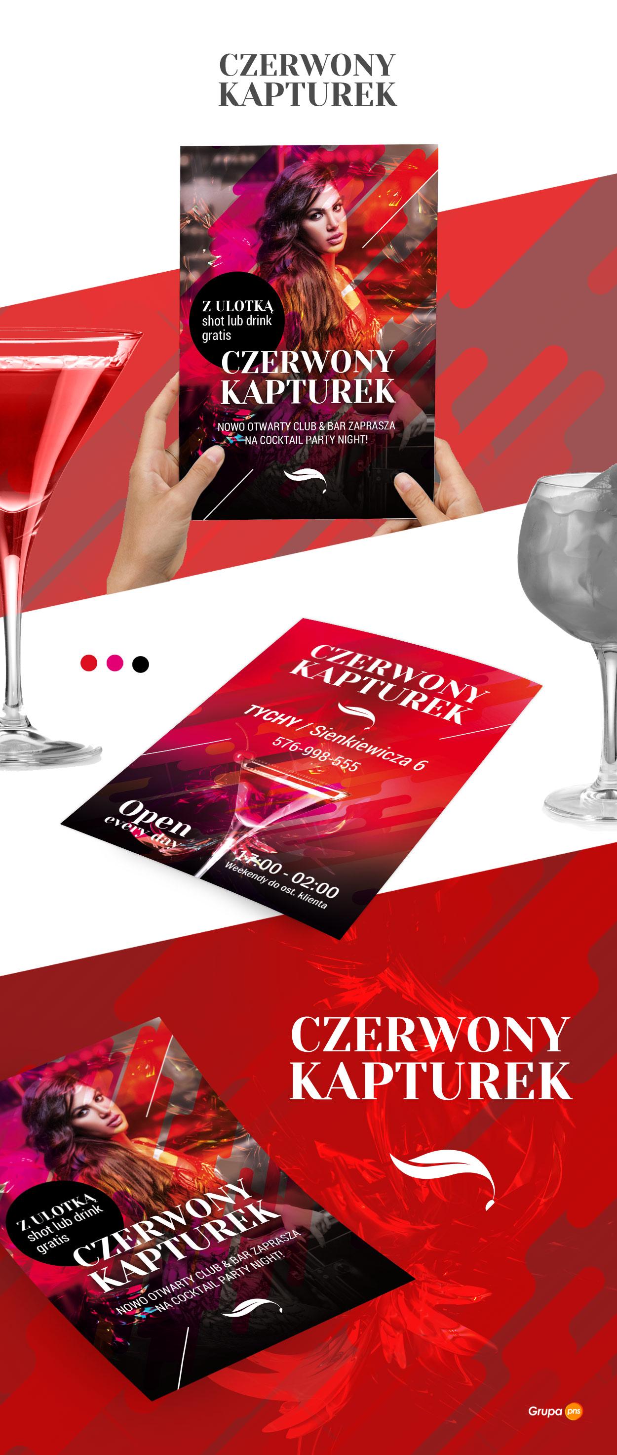 projekt ulotki reklamowej dla klubu muzycznego czerwony kapturek - Projekt ulotki dla klubu - Czerwony Kapturek
