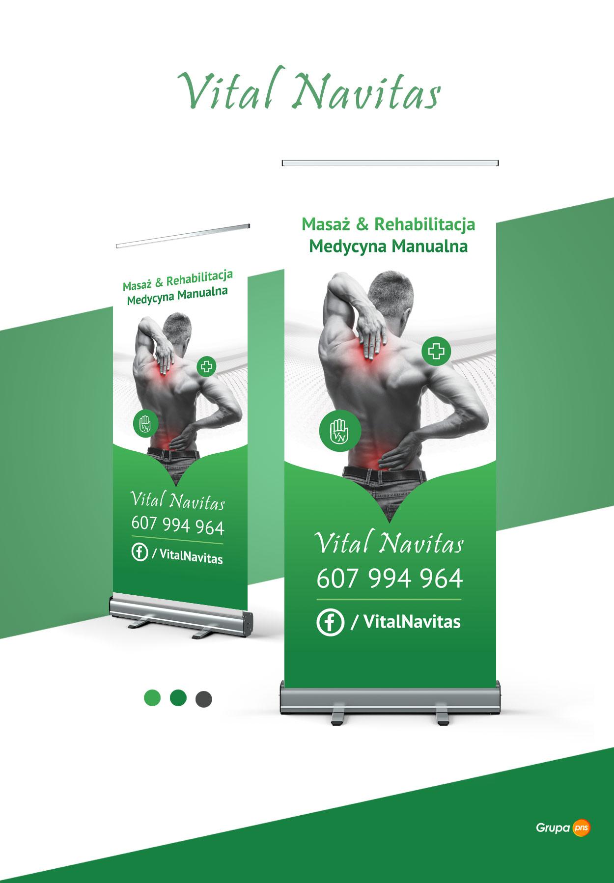 projekt graficzny rollupa salon rehabilitacji vital naviles - Projekt rollup dla gabinetu masażu i rehabilitacji - Vital Navitas