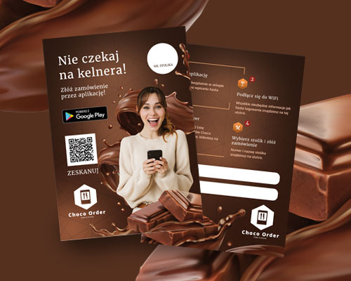 projekt ulotki dla aplikacji mobilnej choco order dla restauracji min - Projekt ulotki aplikacji mobilnej dla restauracji - Choco Order