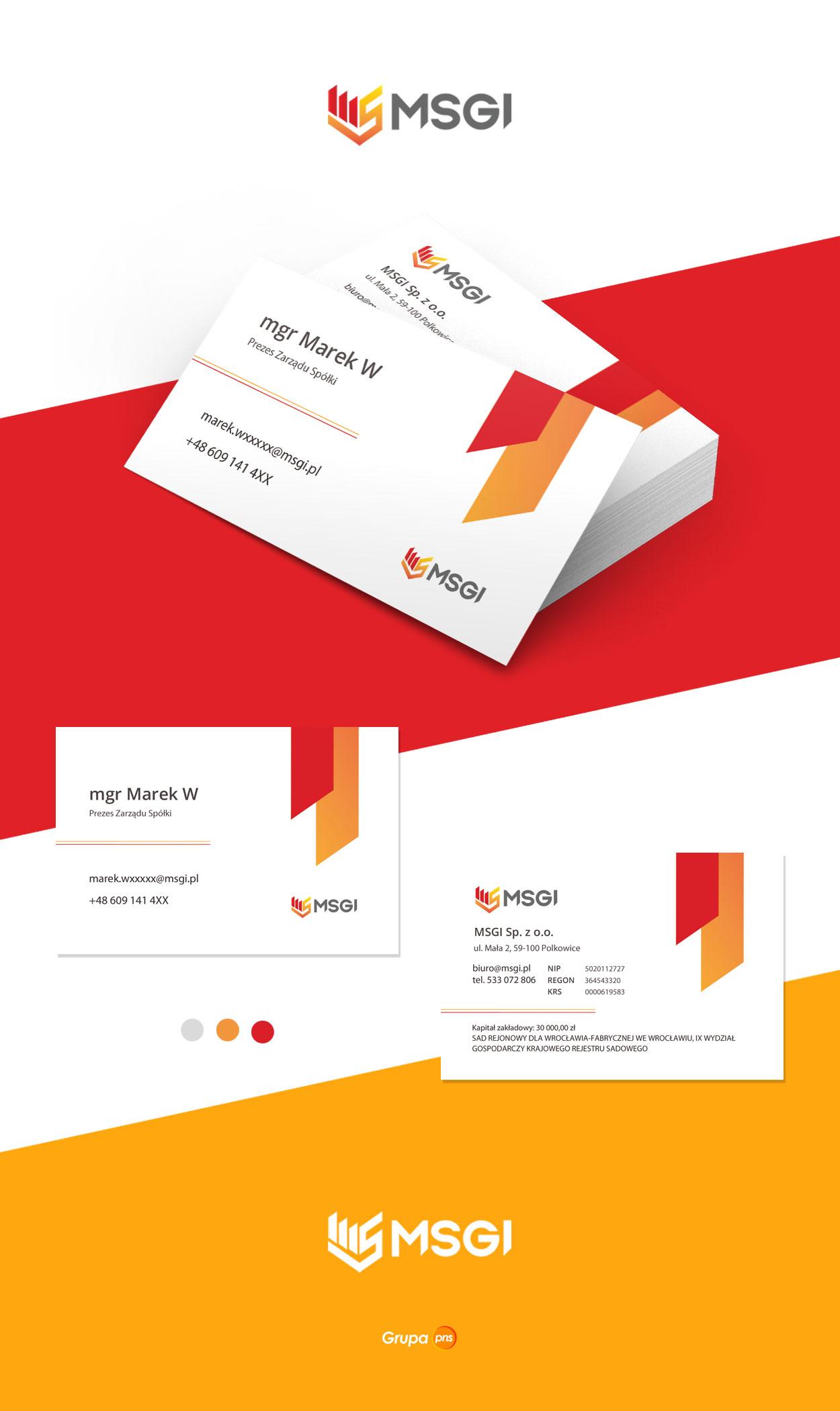 projekt wizytowki firmowej msgi - Projekt wizytówki dla firmy - MSGI