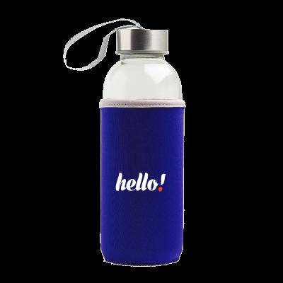 Butelka szklana w pokrowcu z logo