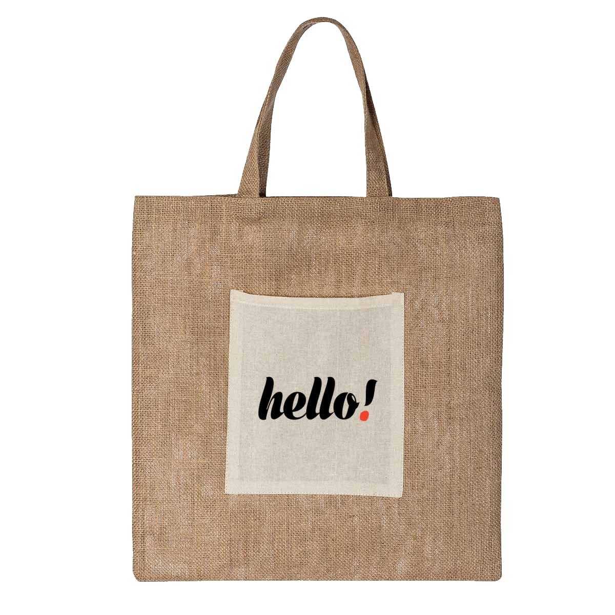 torba jutowa logo kieszonka - Torba jutowa z logo - kieszonka