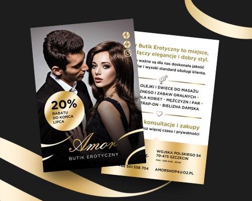 projekt ulotki dla sklepu erotycznego amor min - Projekt ulotki reklamowej dla sklepu erotycznego - Amor
