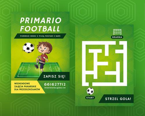 ulotka zajecia pilkarskie dla dzieci primaro football min - Ulotka zajęcia piłkarskie dla dzieci - Primario Football