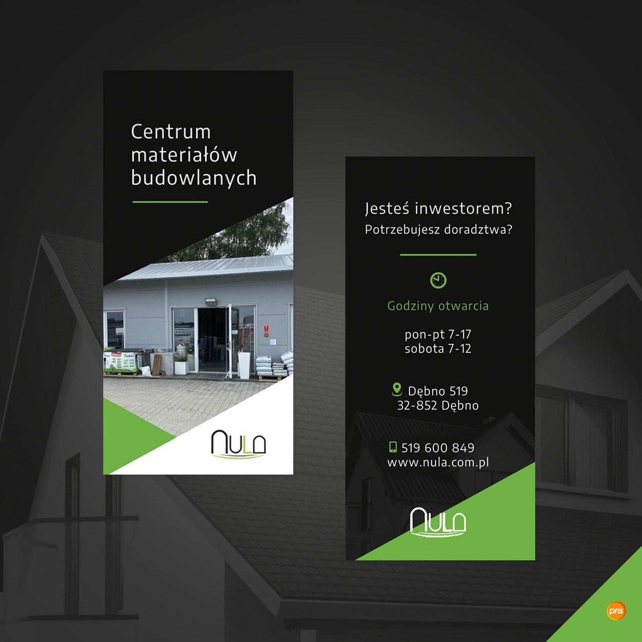 projekt graficzny ulotki dl firma budowlana nula - Projekt ulotki reklamowej dla hurtowni budowlanej - Nula