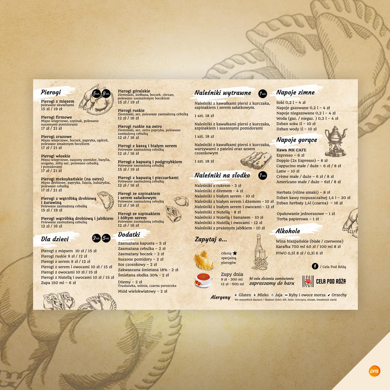 karta menu restauracja cela pod roza - Projekt graficzny menu dla restauracji - Cela pod Różą