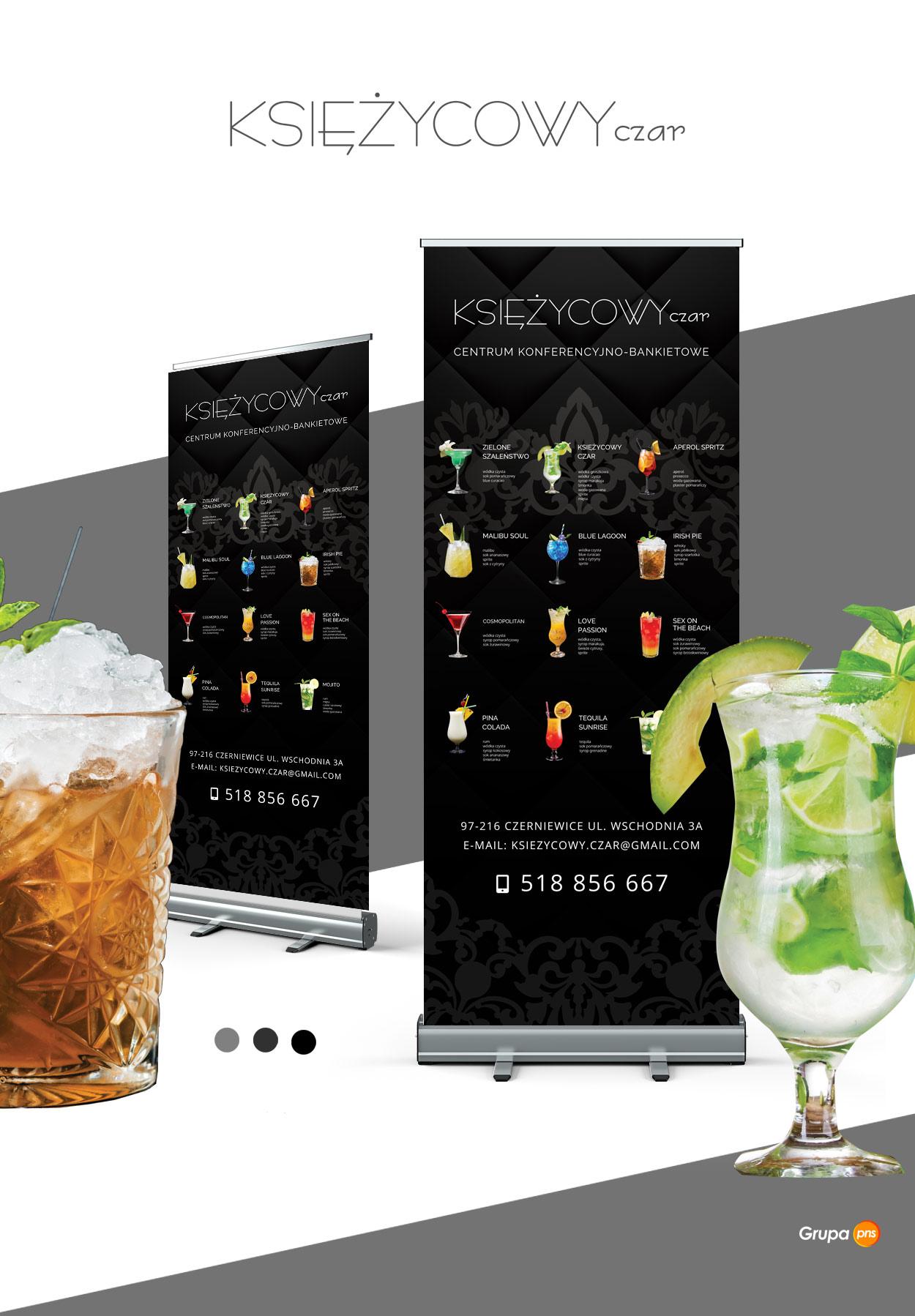 projekt graficzny rollup dla restauracji drinki ksiezycowy - Projekt graficzny rollupu dla restauracji - Księżycowy Czar