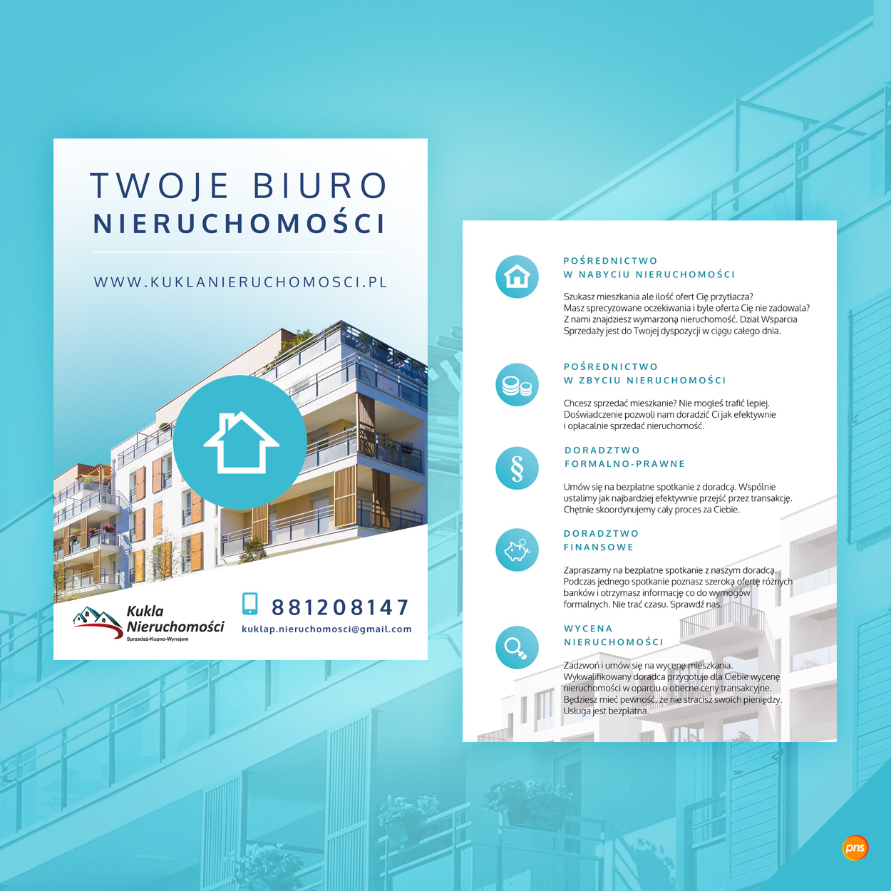 projekt ulotki dla biura nieruchomosci kukla 1 - Projekt ulotki dla biura nieruchomości - Kukla Nieruchomości