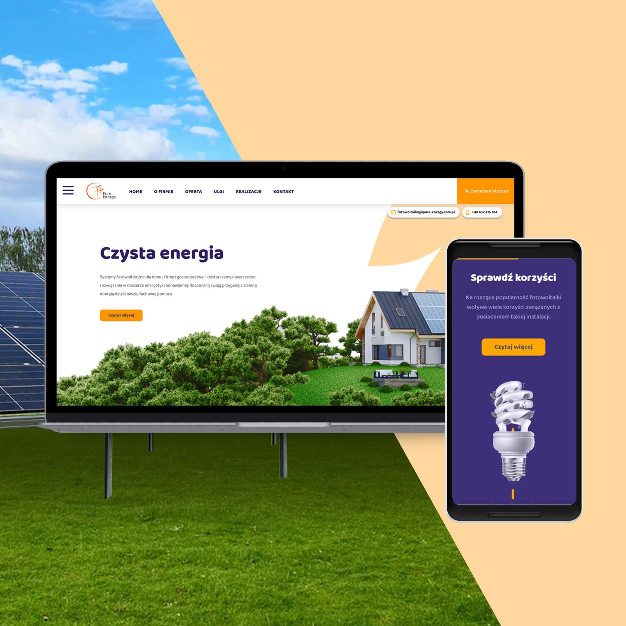 projektowanie strona www dla firmy fotowoltaika pv pure energy - Strona internetowa dla firmy fotowoltaika / OZE - Pure Energy